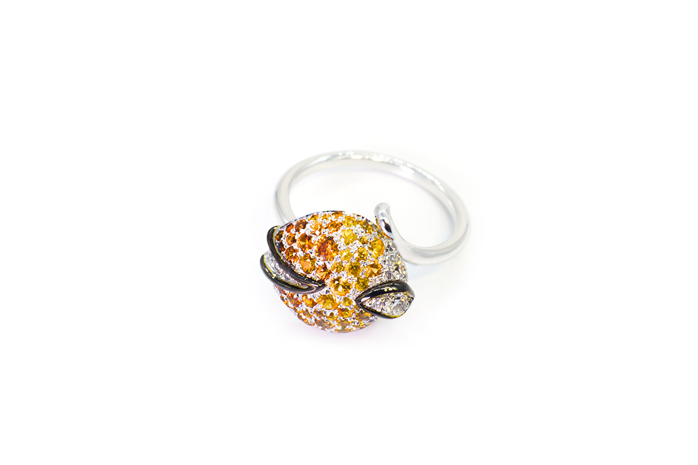 Collection Joaillerie Eclosion - Bague Saphirs orange