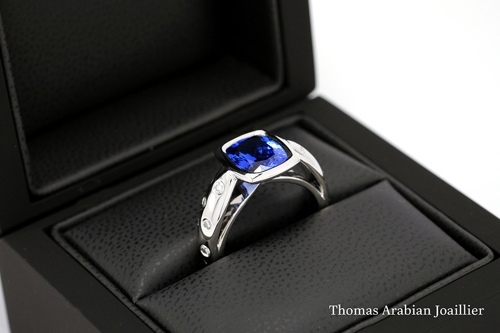 Bague or blanc - Tanzanite 7