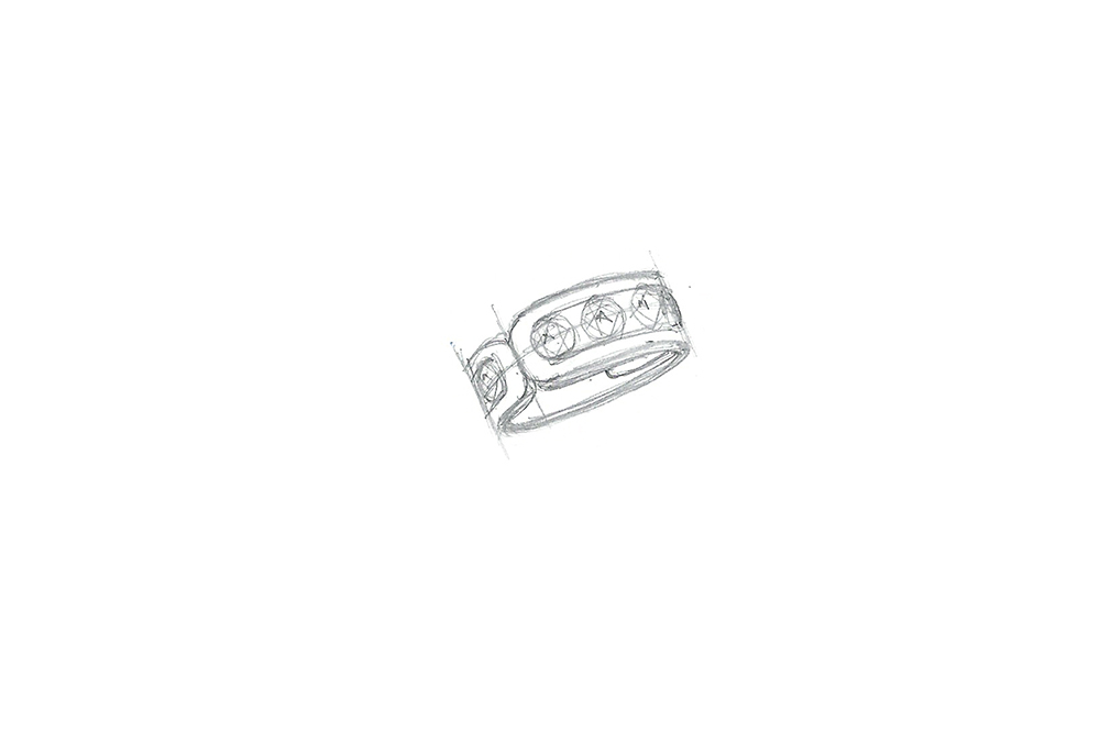 Bague 3 diamants - dessin