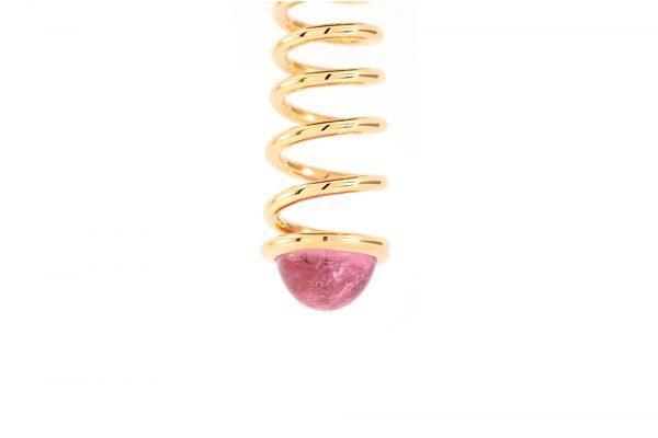 Pendentif spirale or jaune et Tourmaline rose 2