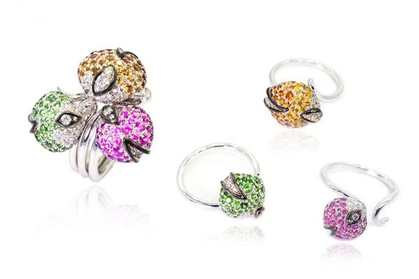 Bague Collection Eclosion - Saphirs, Grenats et Diamants