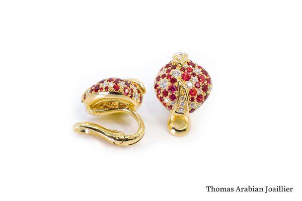 Boucles d'oreilles Eclosion Rubis et Diamants - 2