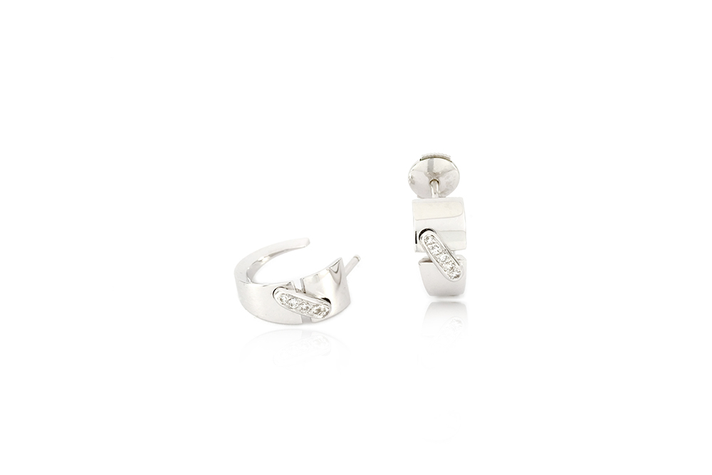 Boucles d'oreilles Larmes de lune - or blanc et diamants