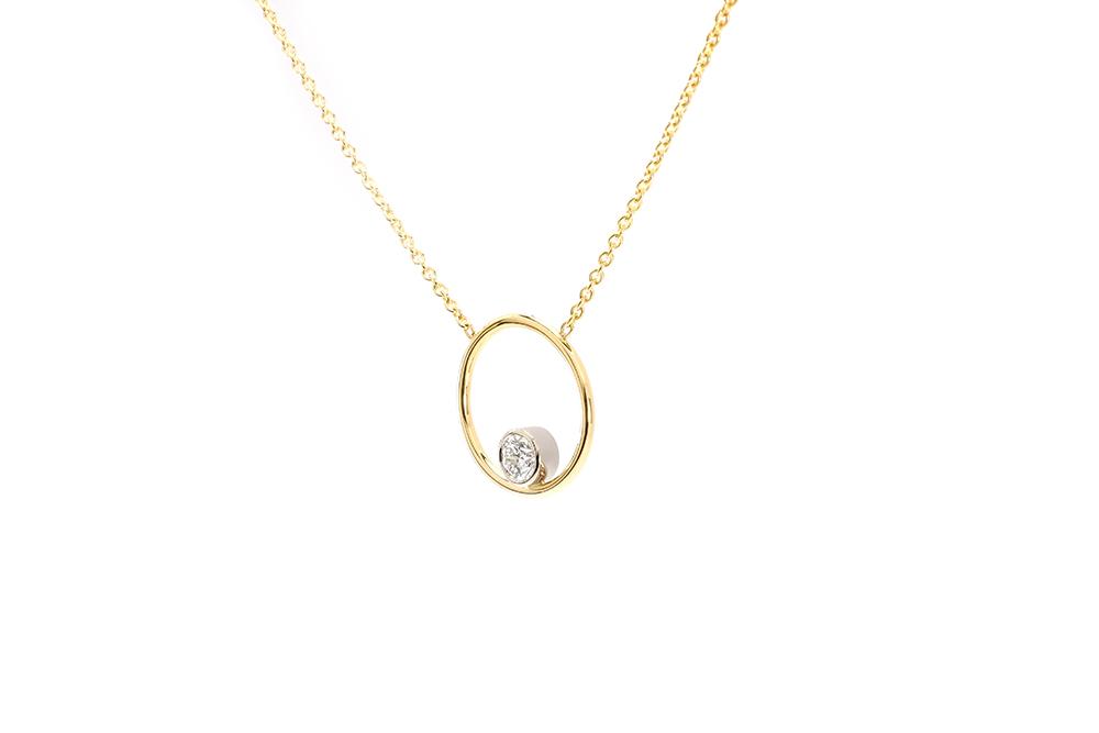 Pendentif Bonheur - Diamant serti or blanc - Or jaune 2