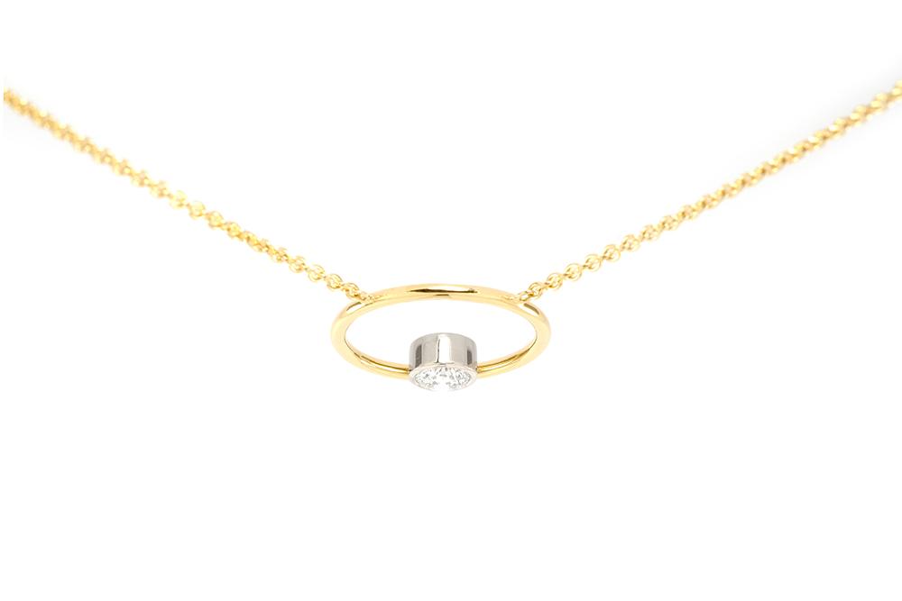 Pendentif Bonheur - Diamant serti or blanc - Or jaune 3