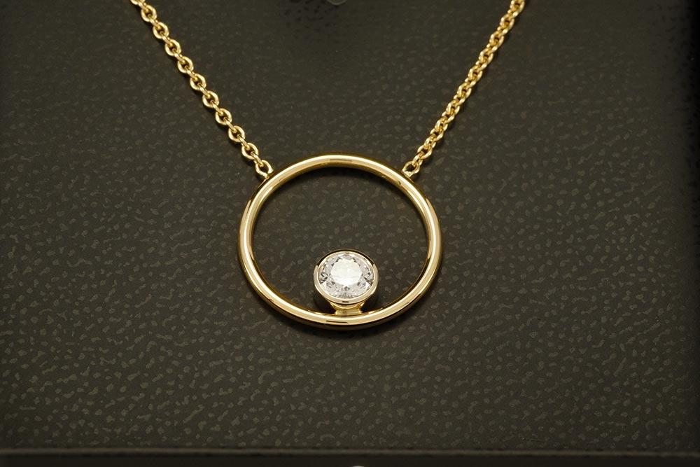 Pendentif Bonheur - Diamant serti or blanc - Or jaune 4