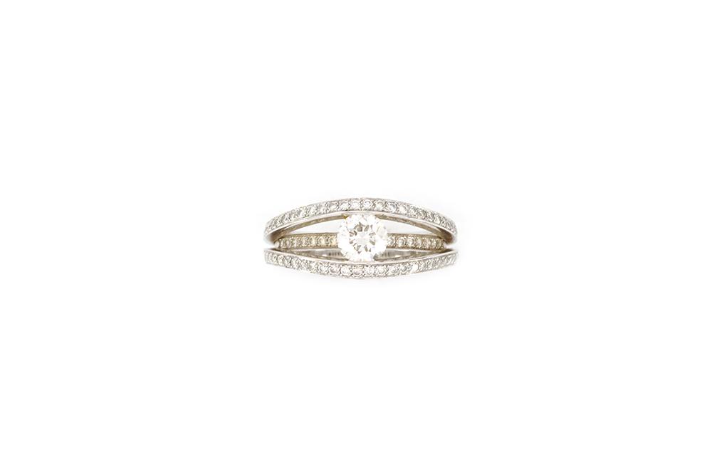 Solitaire 3 anneaux - or blanc et diamants 2