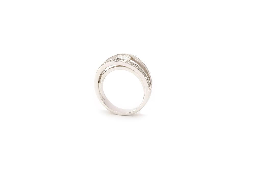 Solitaire 3 anneaux - or blanc et diamants 4