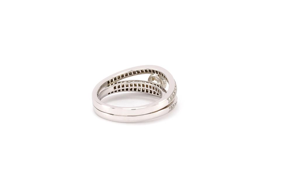 Solitaire 3 anneaux - or blanc et diamants 5