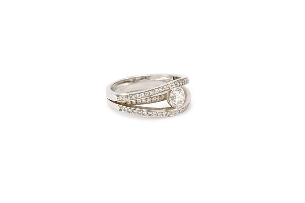 Solitaire 3 anneaux - or blanc et diamants