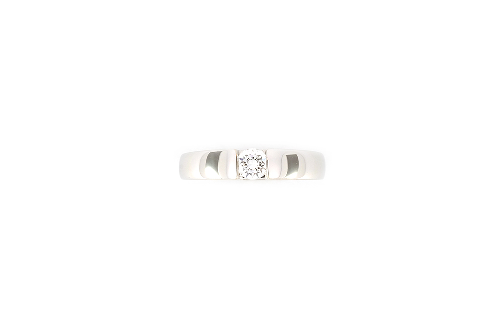 Bague de fiançailles - Solitaire épuré or gris et diamants 5