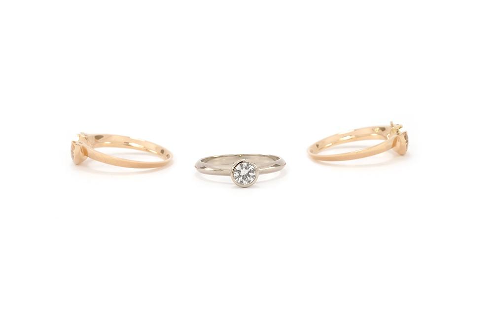 Solitaire modulé - Or blanc, or rouge, Diamant et Grenats 2