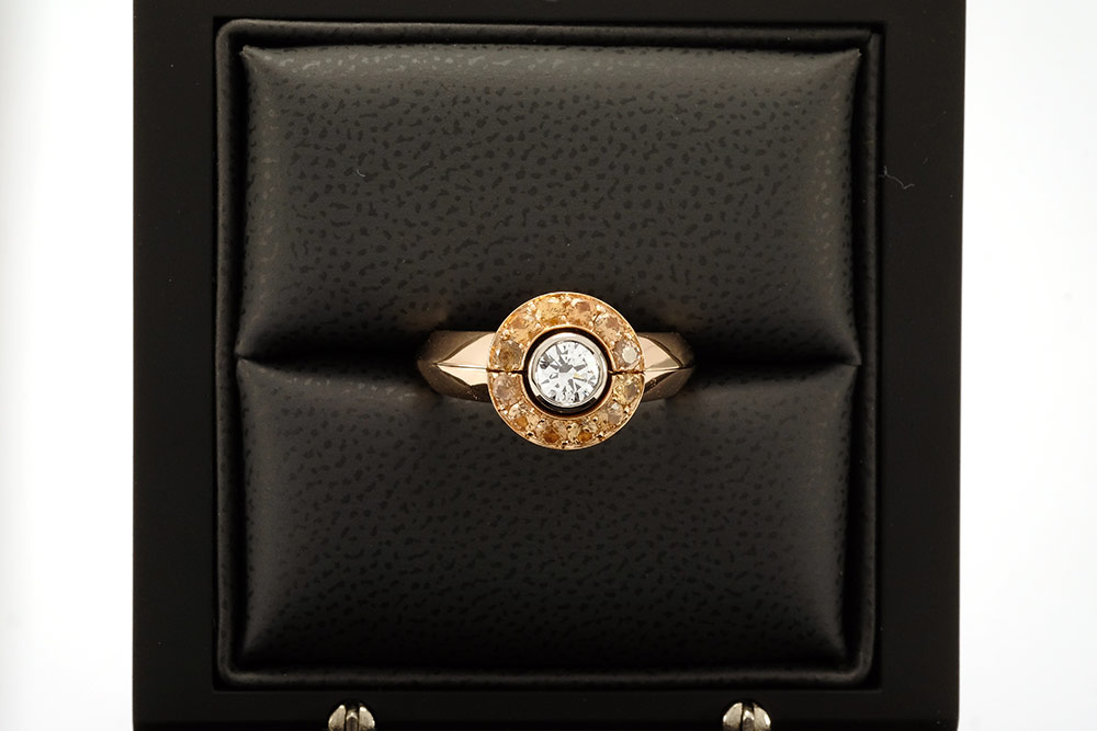 Solitaire modulé - Or blanc, or rouge, Diamant et Grenats 5