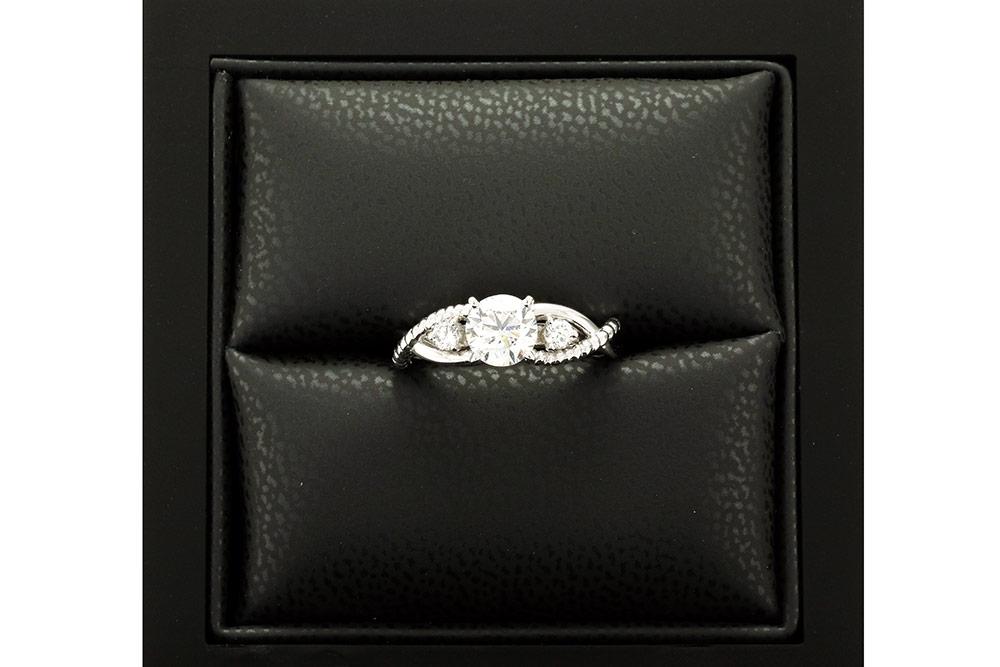 Solitaire Tressé Diamants et or blanc 5