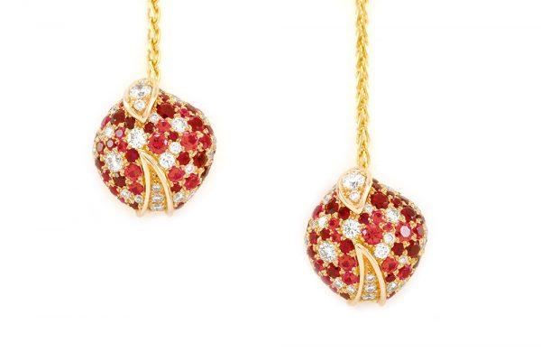 Boucles d'oreilles Eclosion - Rubis et or rouge 3