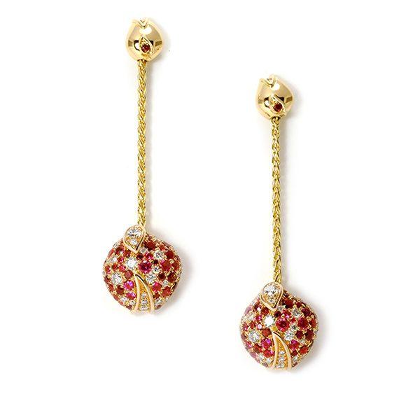 Boucles d'oreilles Eclosion - Rubis et or rouge - vignette