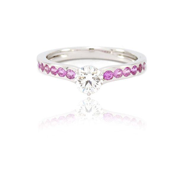 Bague Solitaire Burdigala - Diamant, Saphirs Roses et Or gris - vignette
