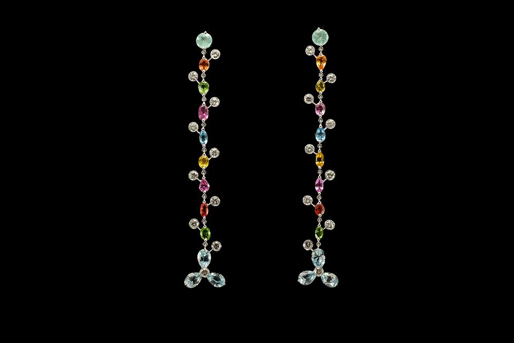 Boucles d'oreilles Félicité - or blanc 18 carats, pierres précieuses et pierres fines 5