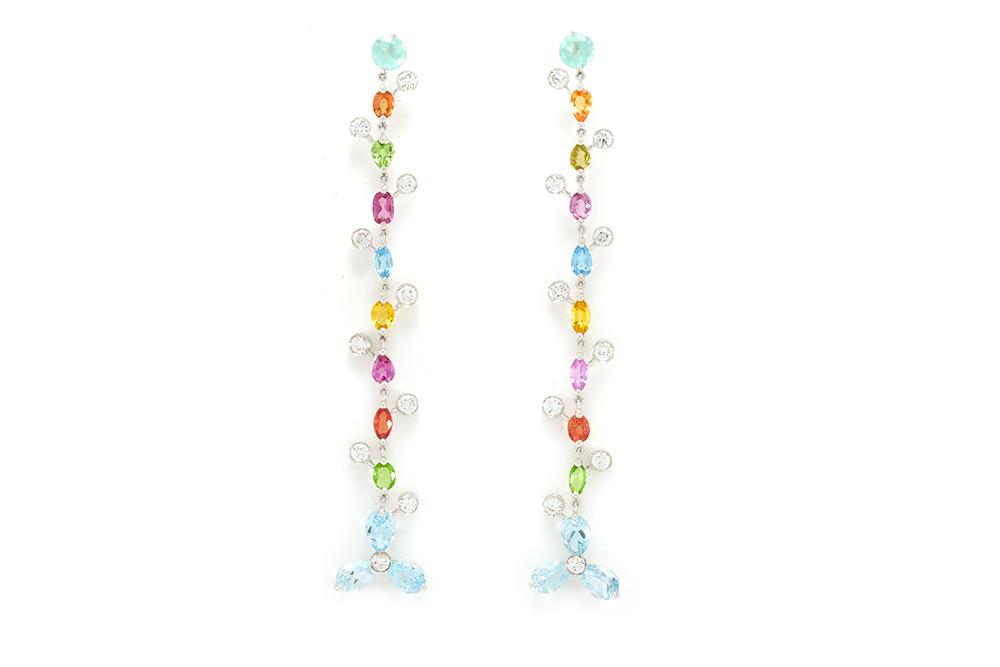 Boucles d'oreilles Félicité - or blanc 18 carats, pierres précieuses et pierres fines