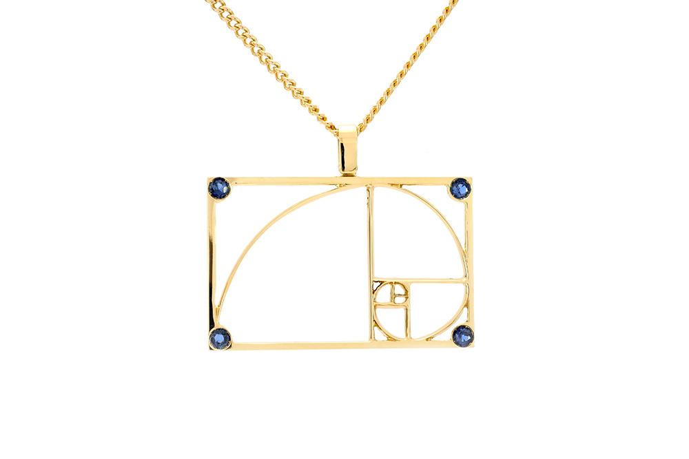 Pendentif Fibonacci homme - Or jaune 18 carats - Saphirs