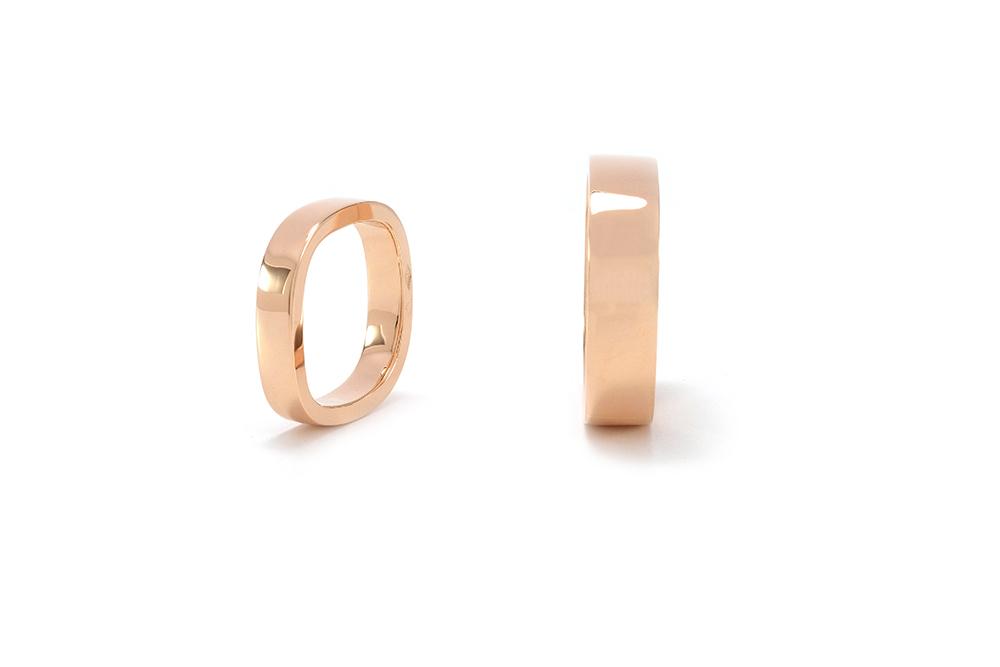 Alliances carrées - Femme et homme - Or rouge - 3