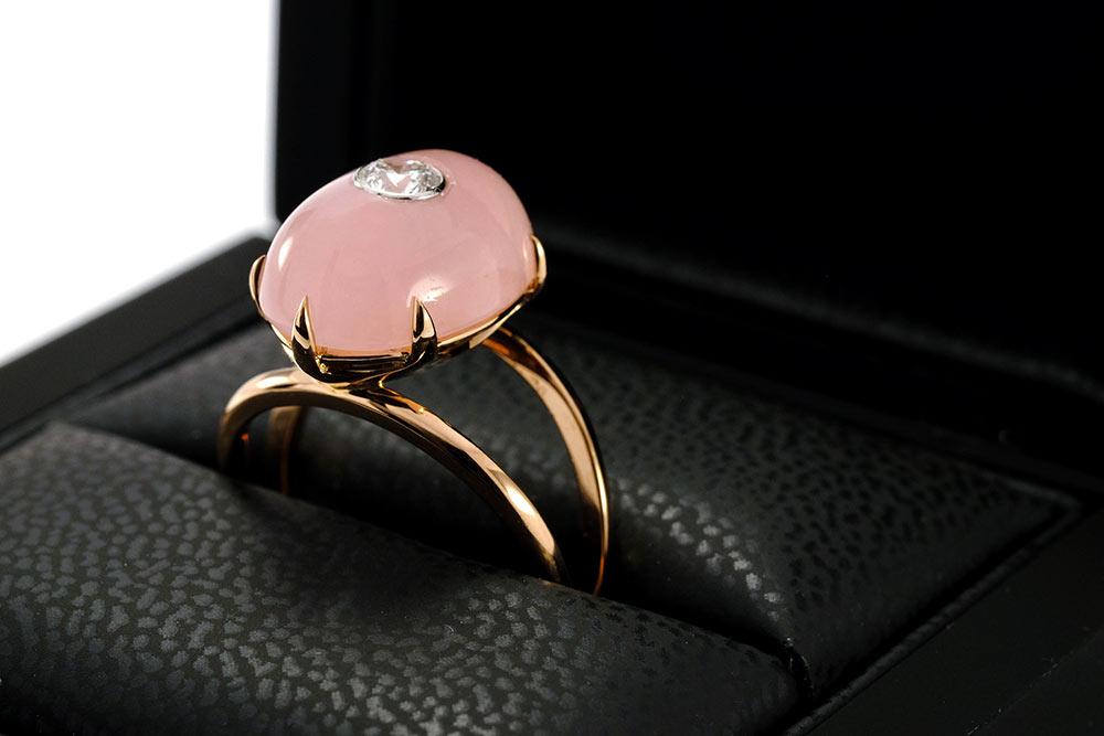 Bague Lotus Rose - Quartz, or rouge et diamant - 2