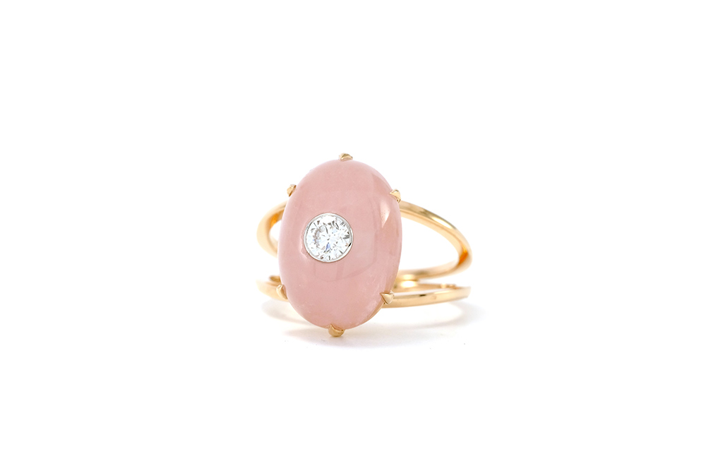 Bague Lotus Rose - Quartz, or rouge et diamant - 3