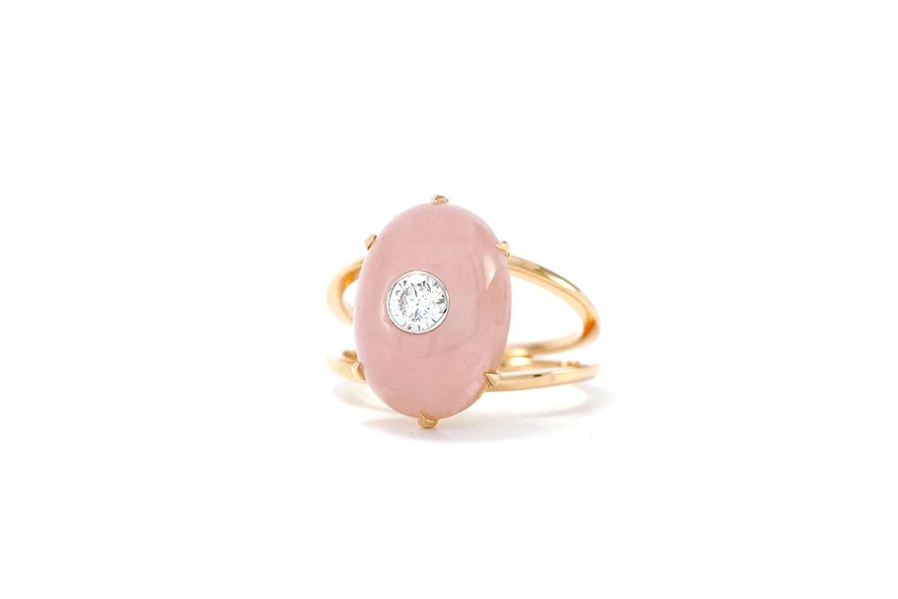 Bague Lotus Rose - Quartz, or rouge et diamant - 3