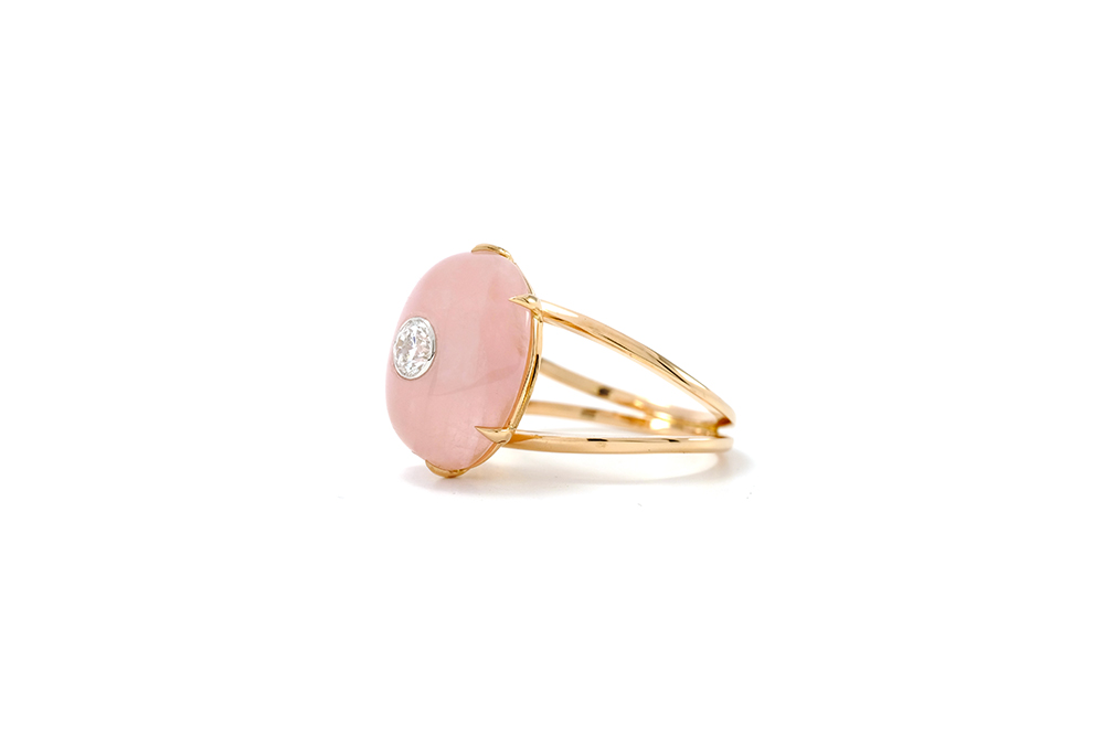 Bague Lotus Rose - Quartz, or rouge et diamant - 4