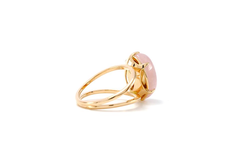 Bague Lotus Rose - Quartz, or rouge et diamant - 5