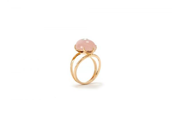Bague Lotus Rose - Quartz, or rouge et diamant - 6