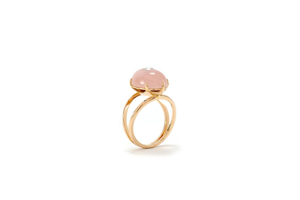 Bague Lotus Rose - Quartz, or rouge et diamant - 6