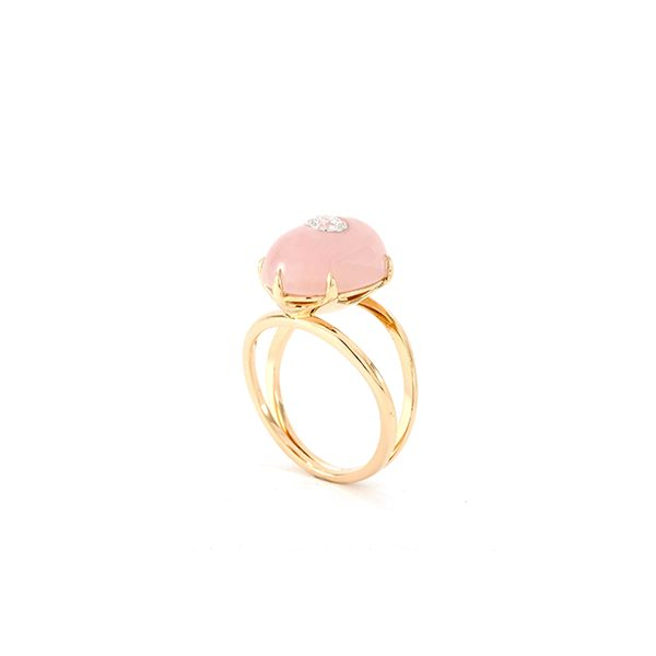 Bague Lotus Rose - Quartz, or rouge et diamant - vignette