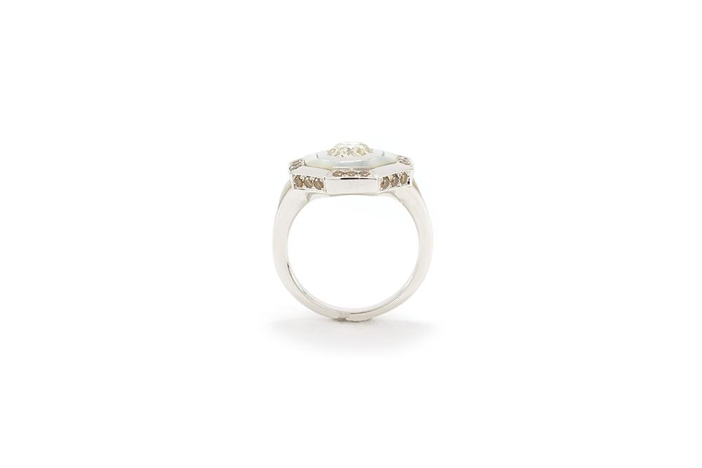 Bague Palais des Glaces - Or blanc, nacre et diamants - 3