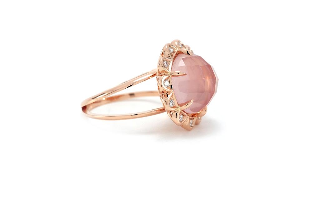 Bague Quartz Rose - Quartz, Diamants et Or 2