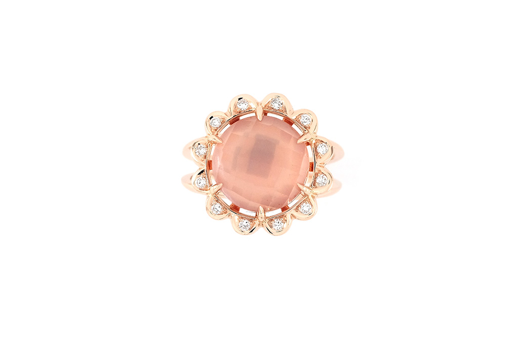 Bague Quartz Rose - Quartz, Diamants et Or 4