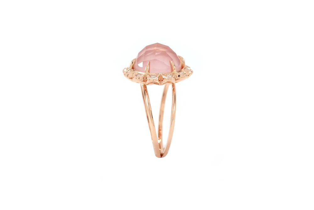 Bague Quartz Rose - Quartz, Diamants et Or 5