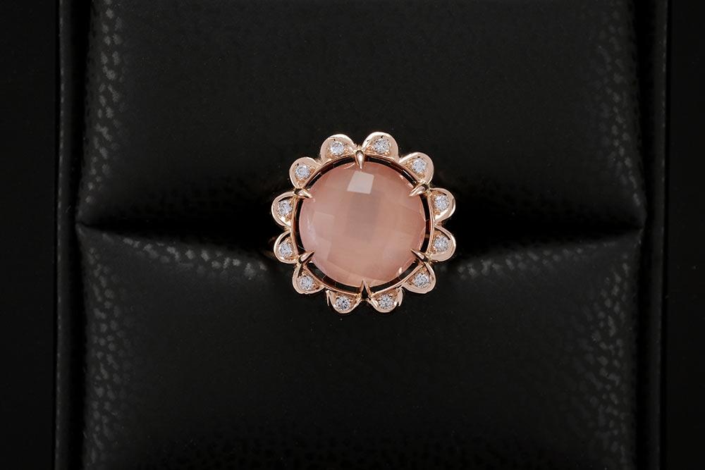 Bague Quartz Rose - Quartz, Diamants et Or 6