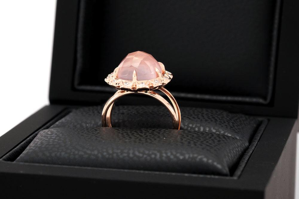 Bague Quartz Rose - Quartz, Diamants et Or 7