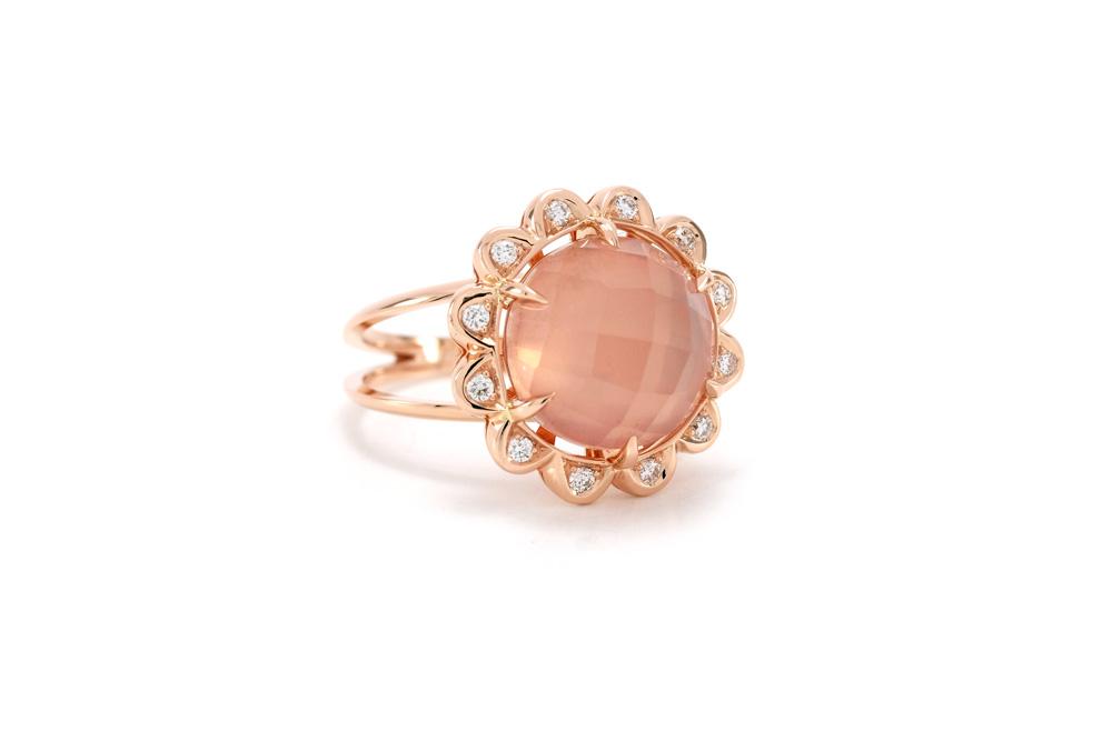 Bague Quartz Rose - Quartz, Diamants et Or
