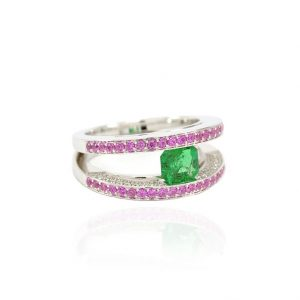 Bague Emeraude, Saphirs roses et Diamants 3
