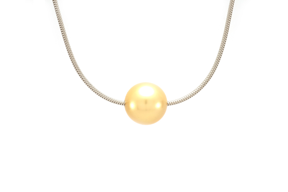 Collier mer du sud - Or blanc - perle Gold - 2