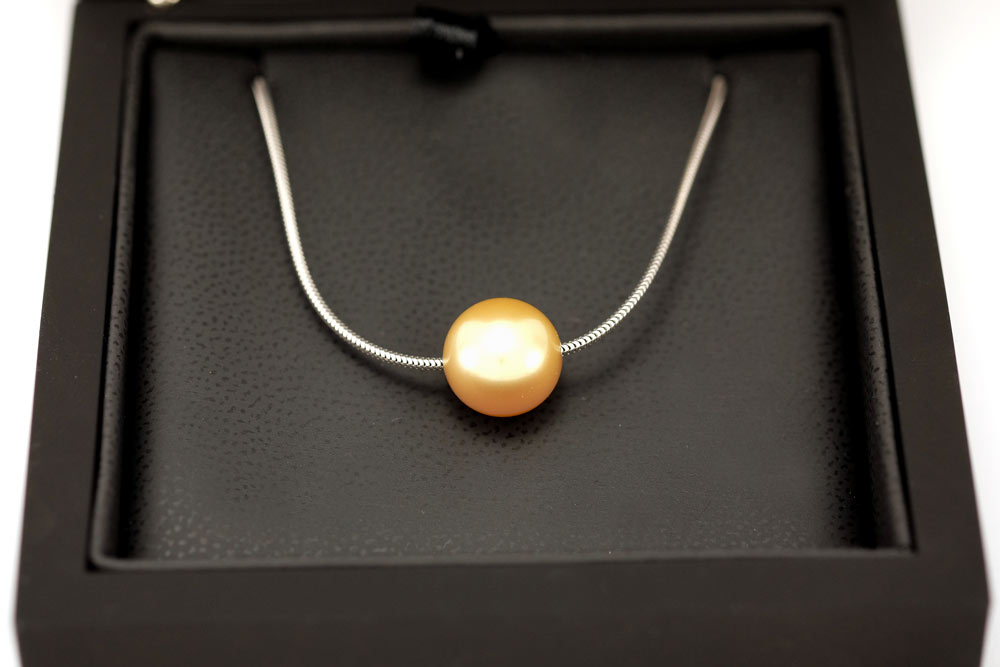 Collier mer du sud - Or blanc - perle Gold - 3