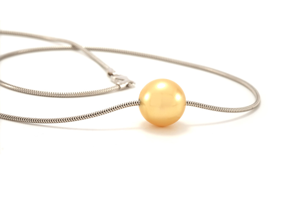 Collier mer du sud - Or blanc - perle Gold