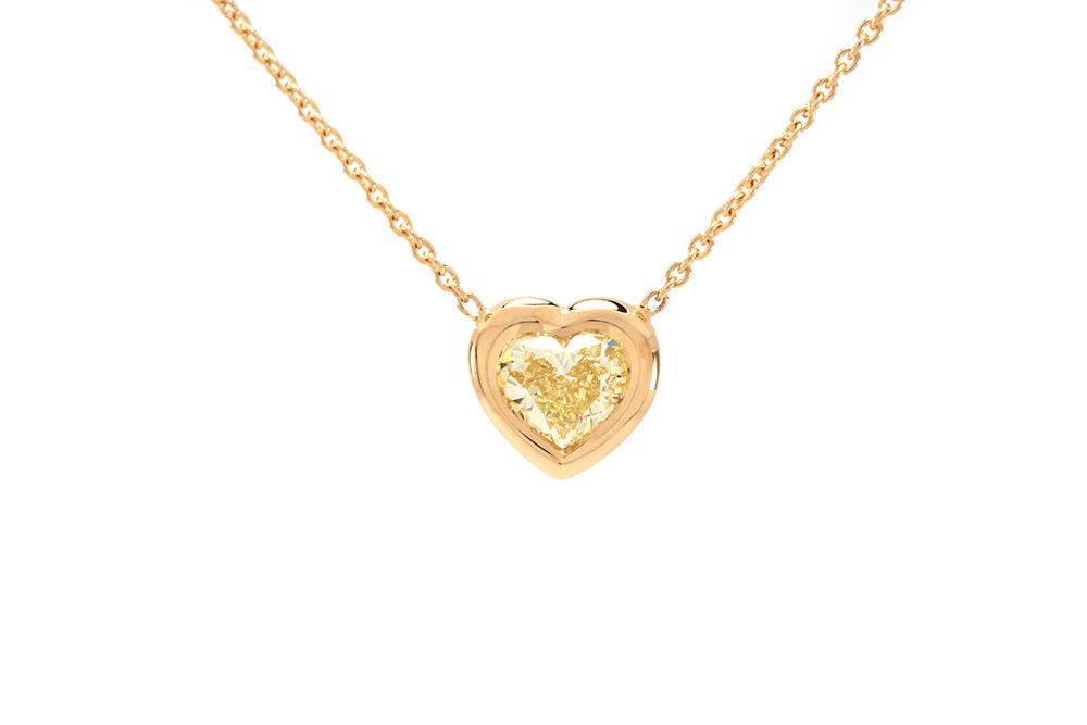 Pendentif Love - Or Jaune et Diamant Jaune
