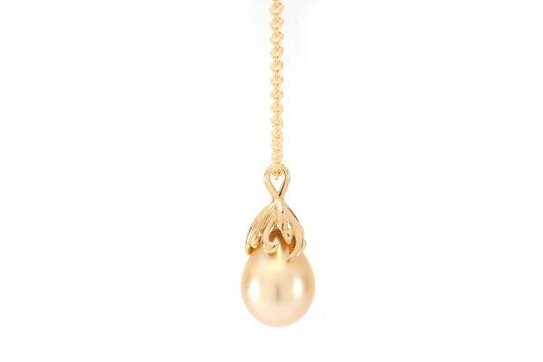 Pendentif Pear - Or jaune et perle des mers du sud 2
