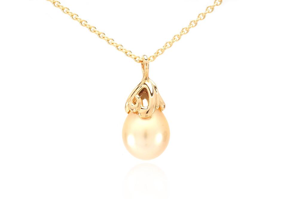 Pendentif Pear - Or jaune et perle des mers du sud