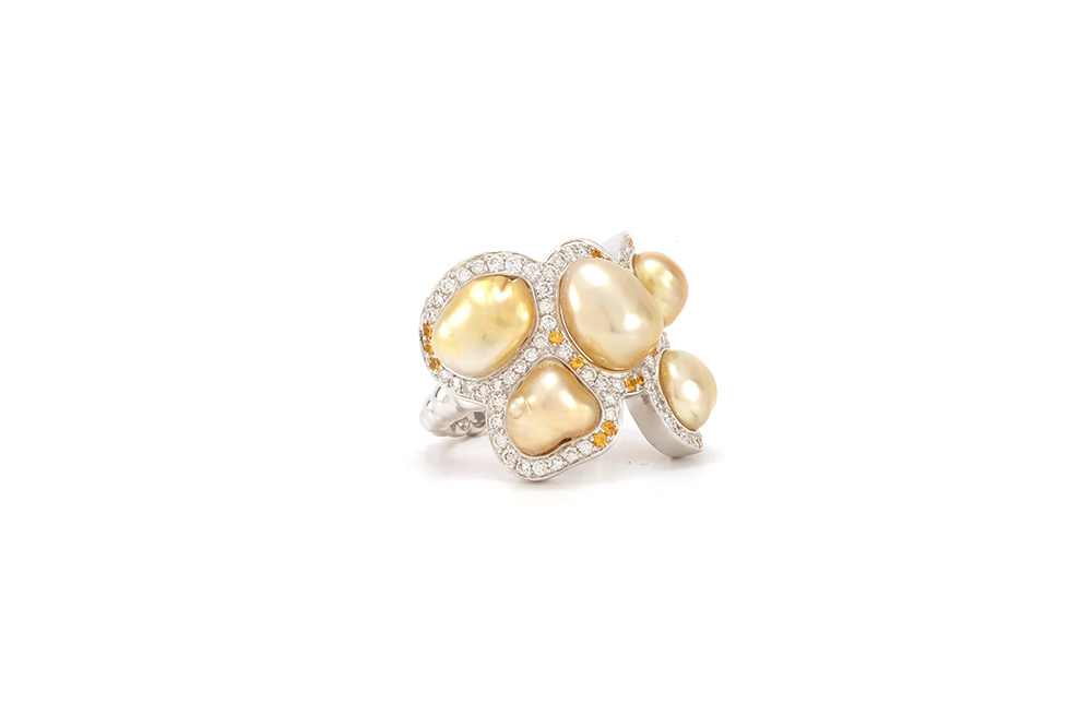 Bague Butterfly - Diamants, saphirs jaunes et Or Blanc 2