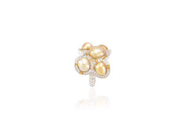 Bague Butterfly - Diamants, saphirs jaunes et Or Blanc 4