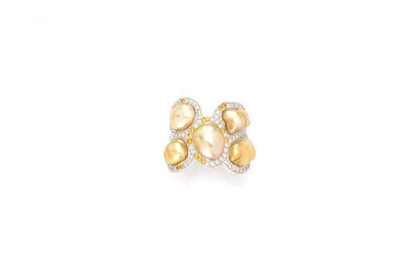 Bague Butterfly - Diamants, saphirs jaunes et Or Blanc 5